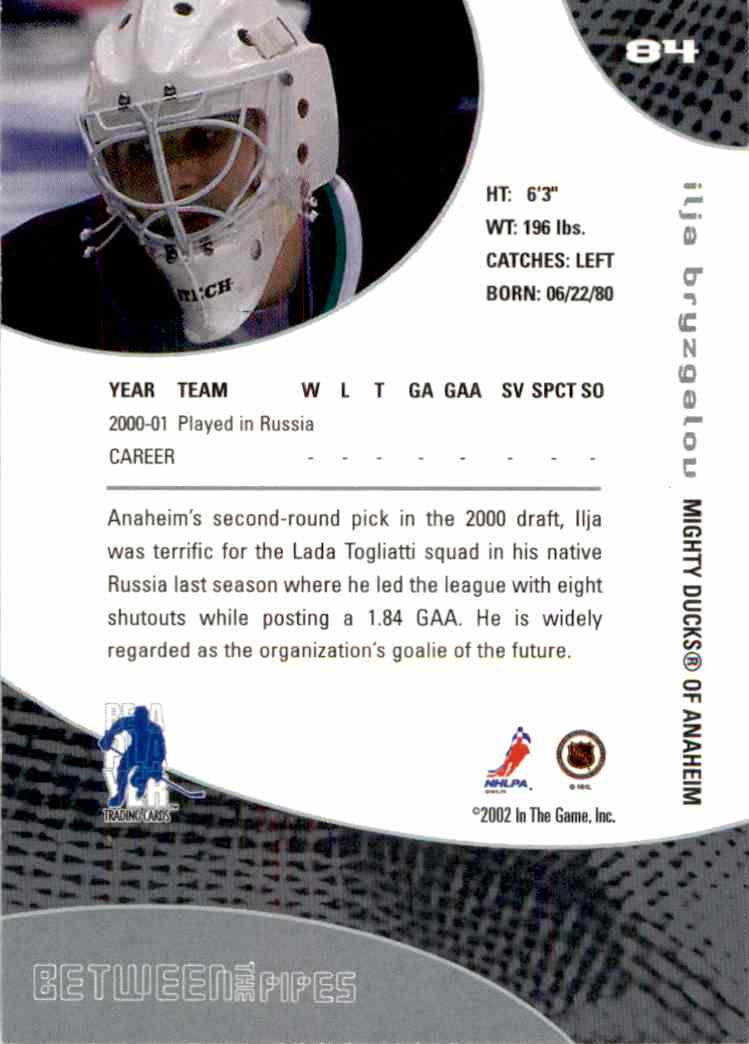 2001-02 In The Game Between The Pipes Ilya Bryzgalov #84 card back image