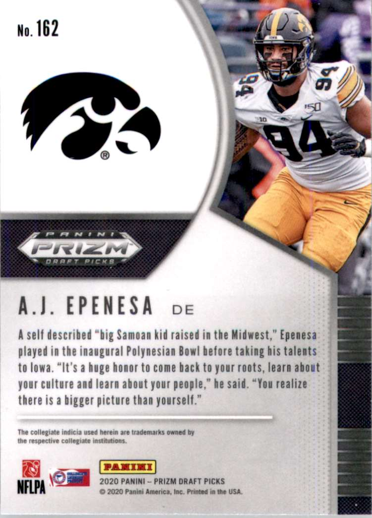2020 Panini Prizm Draft Picks A.J. Epenesa #162 card back image