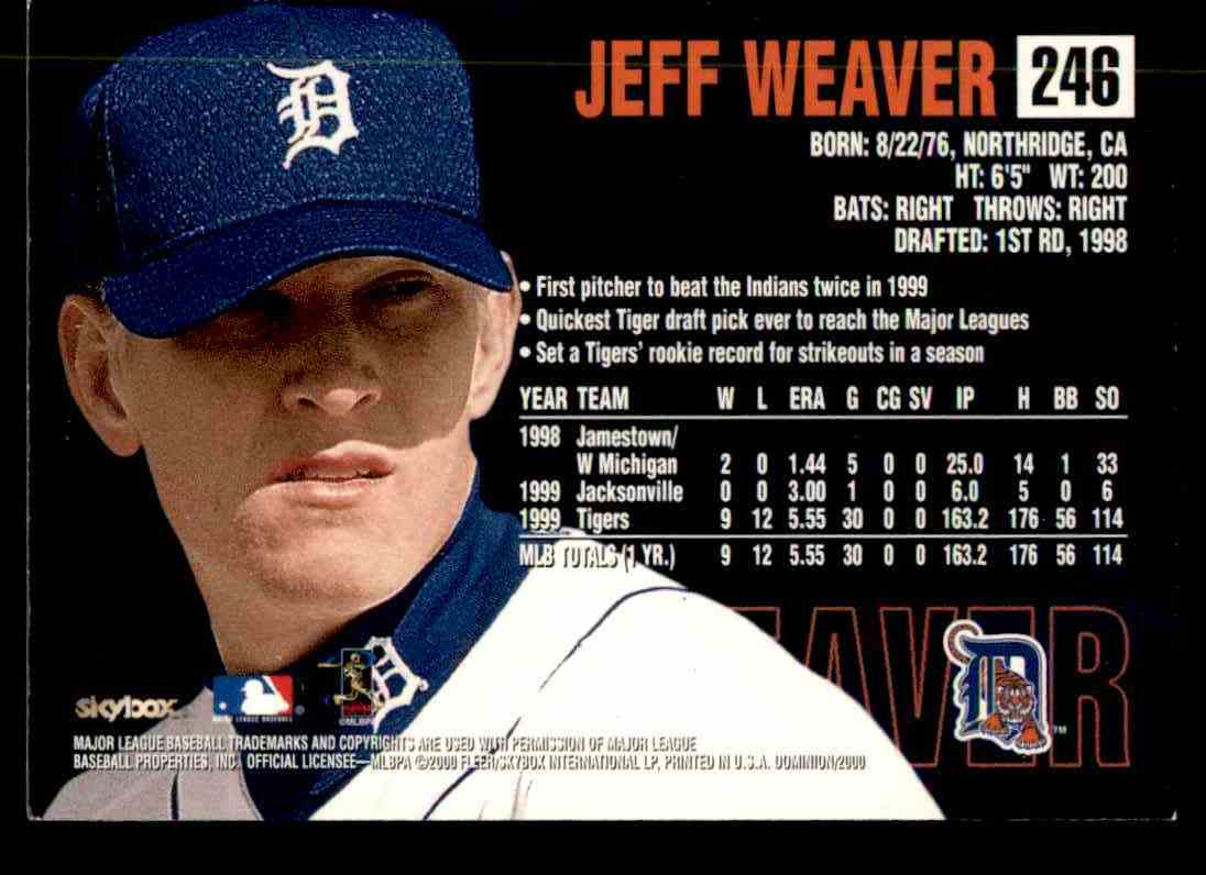 2000 SkyBox Dominion Jeff Weaver #246 card back image