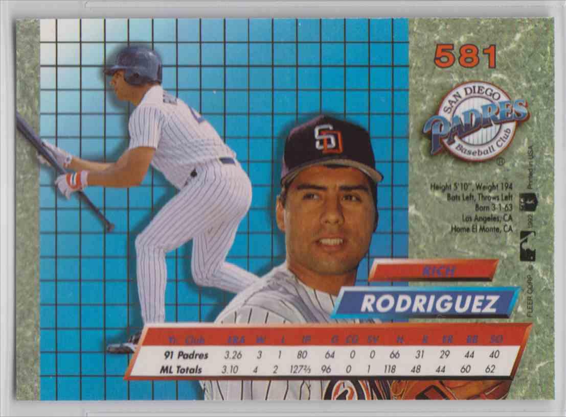 1992 Fleer Ultra Rich Rodriguez #581 card back image