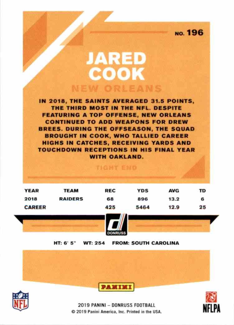 2019 Panini Donruss Jared Cook #196 card back image