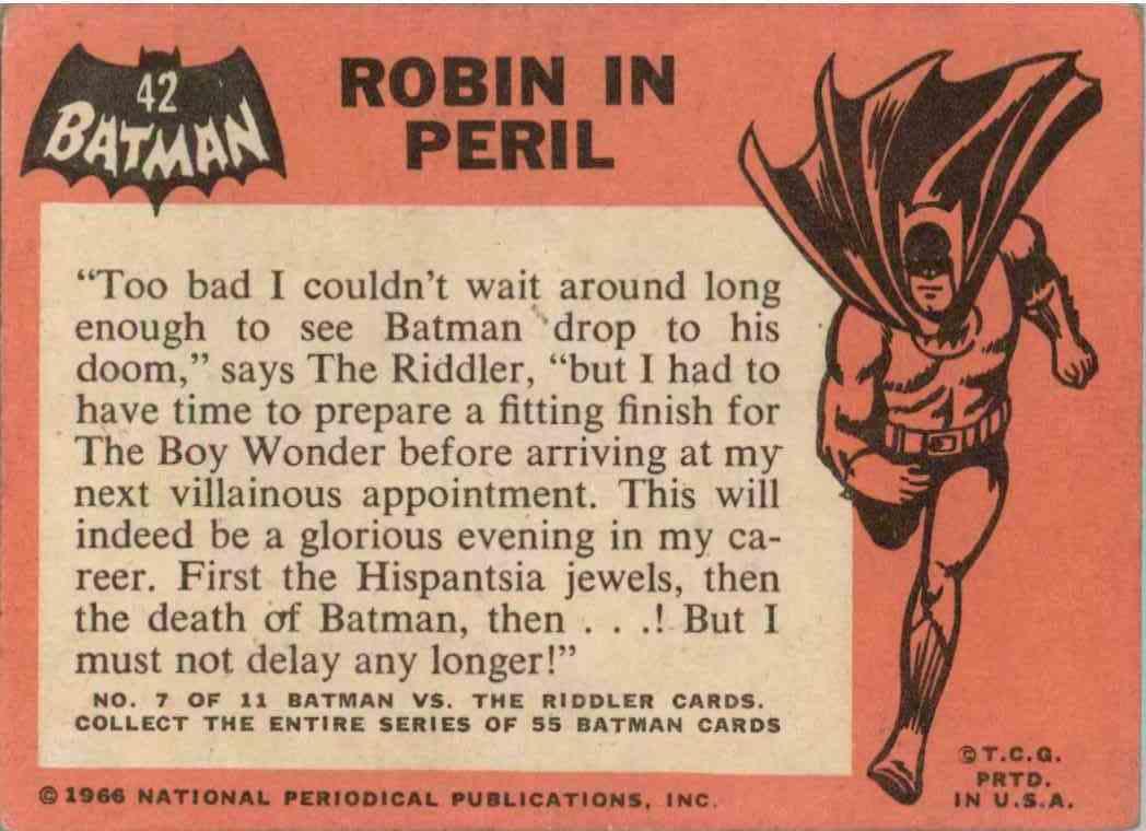 1966 Topps Batman Black Bat Robin In Peril #42 card back image