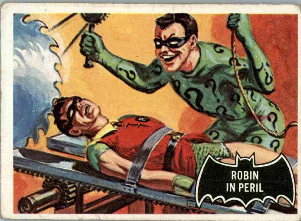1966 Topps Batman Black Bat Robin In Peril #42 card front image
