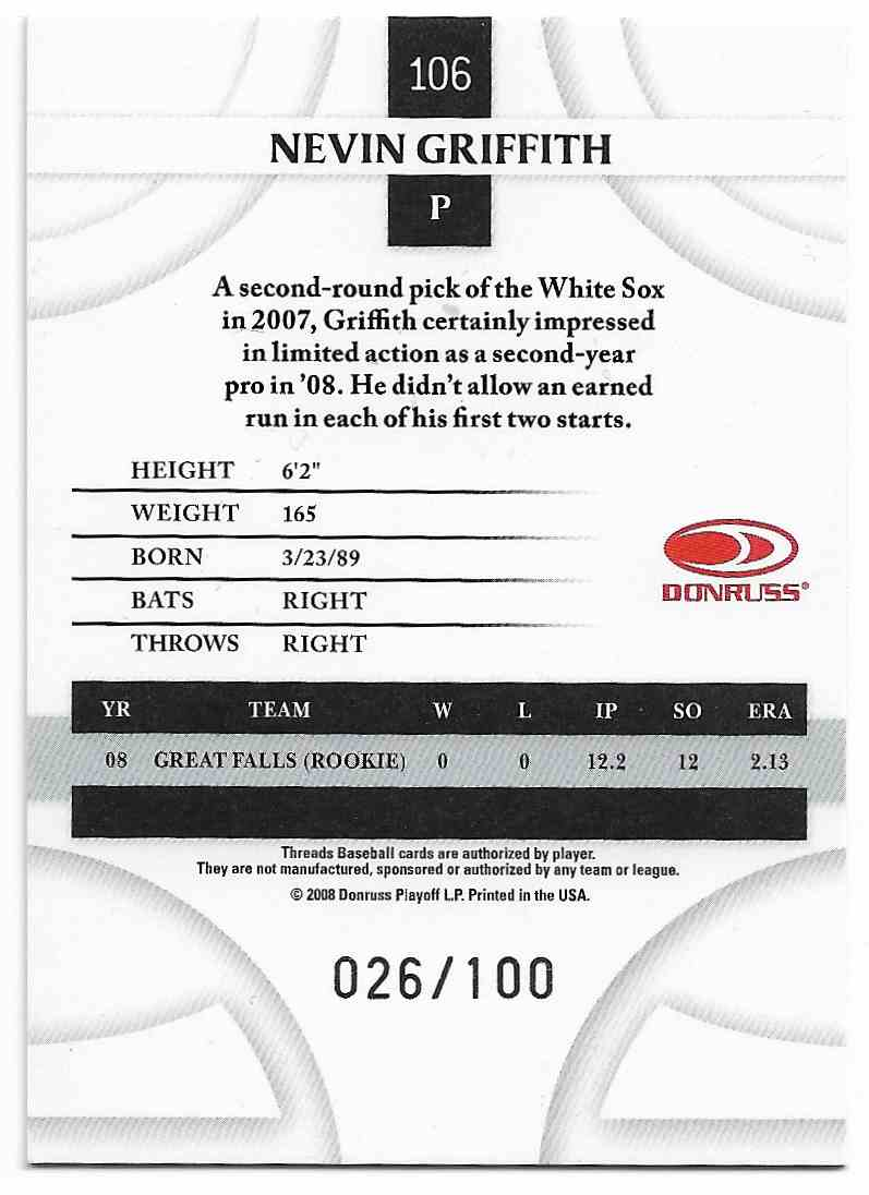 2008 Donruss Threads Nevin Griffith #106 card back image