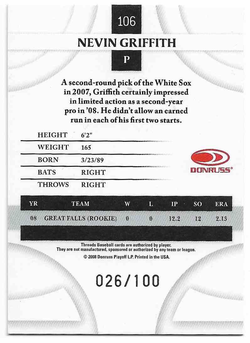 2008 Donruss Threads Nevin Griffith #106 card back image