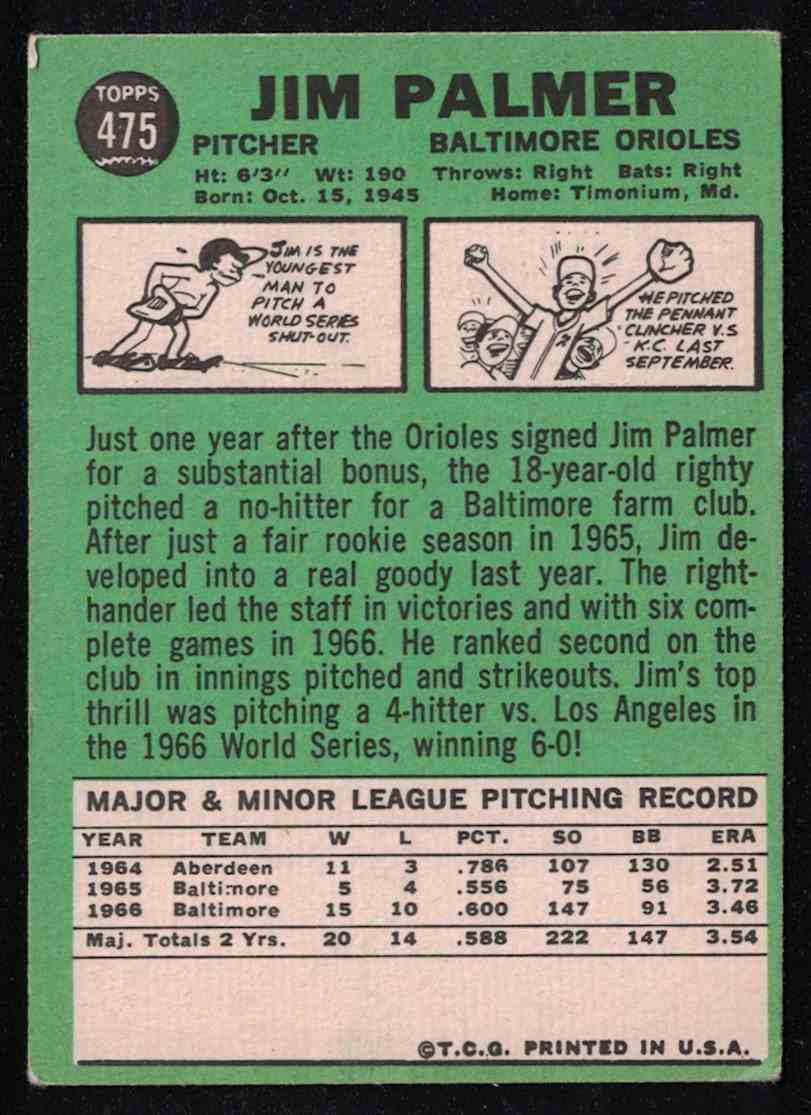 1967 Topps Jim Palmer EX+ #475 card back image