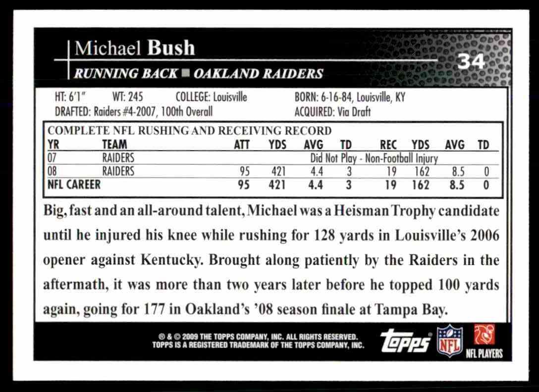 2009 Topps Michael Bush #34 card back image