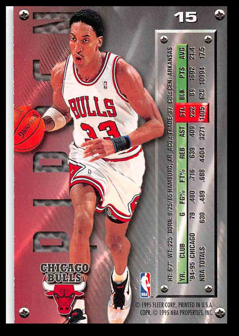 1995-96 Fleer Fleer Metal Scottie Pippen #15 card back image