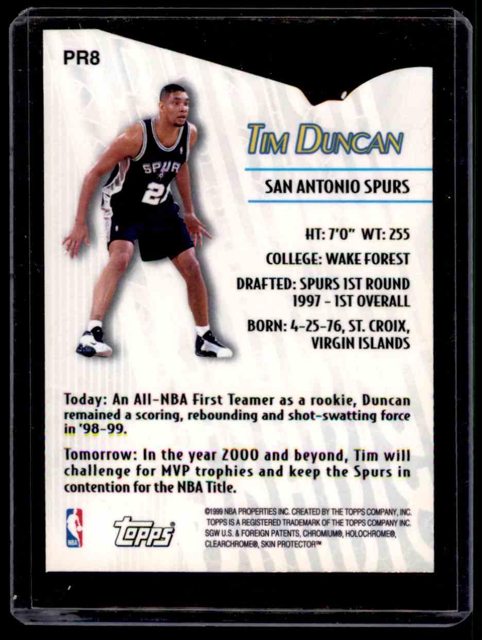 1999-00 Topps Prodigy Tim Duncan #PR8 card back image