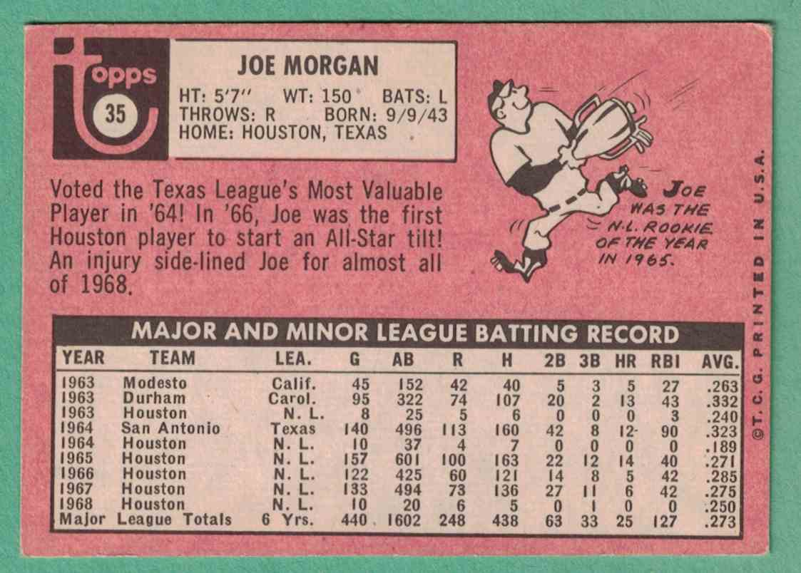 1969 Topps Joe Morgan EX #35 card back image