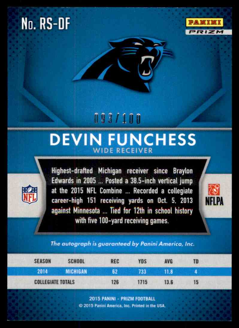 2015 Panini Prizm Blue Devin Funchess card back image