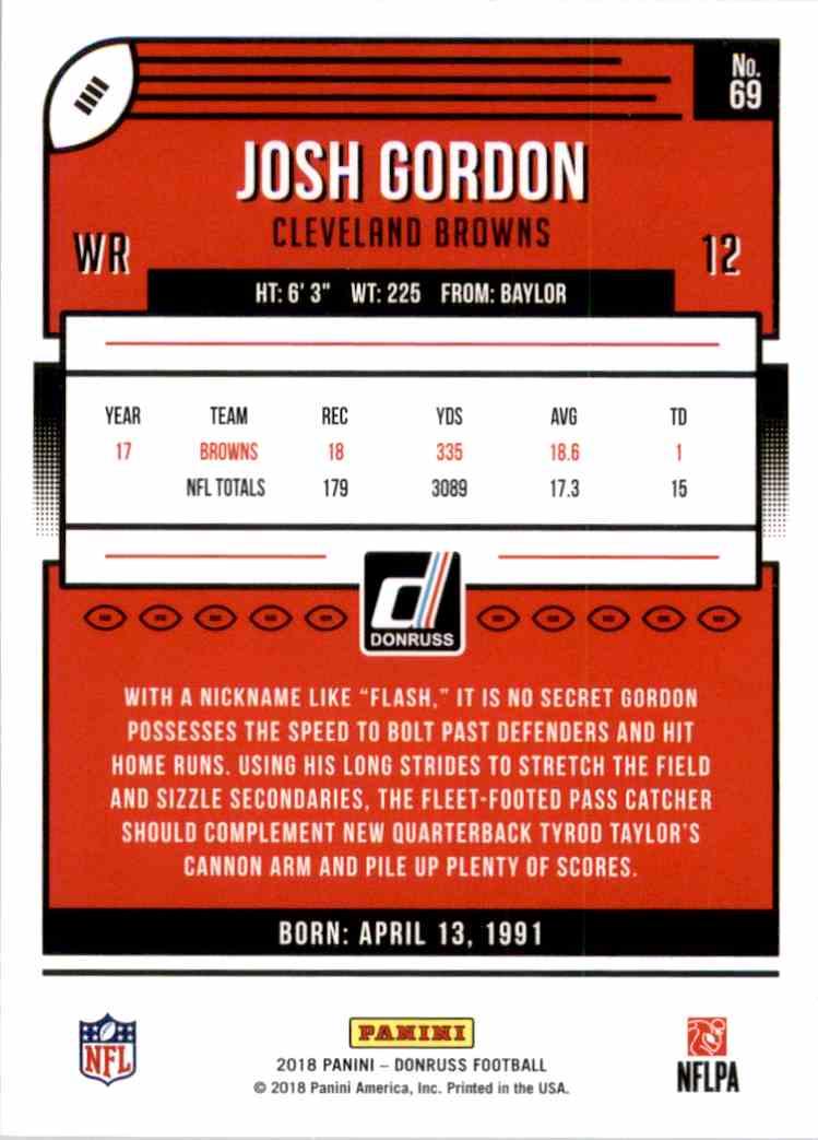 2018 Donruss Josh Gordon #69 card back image