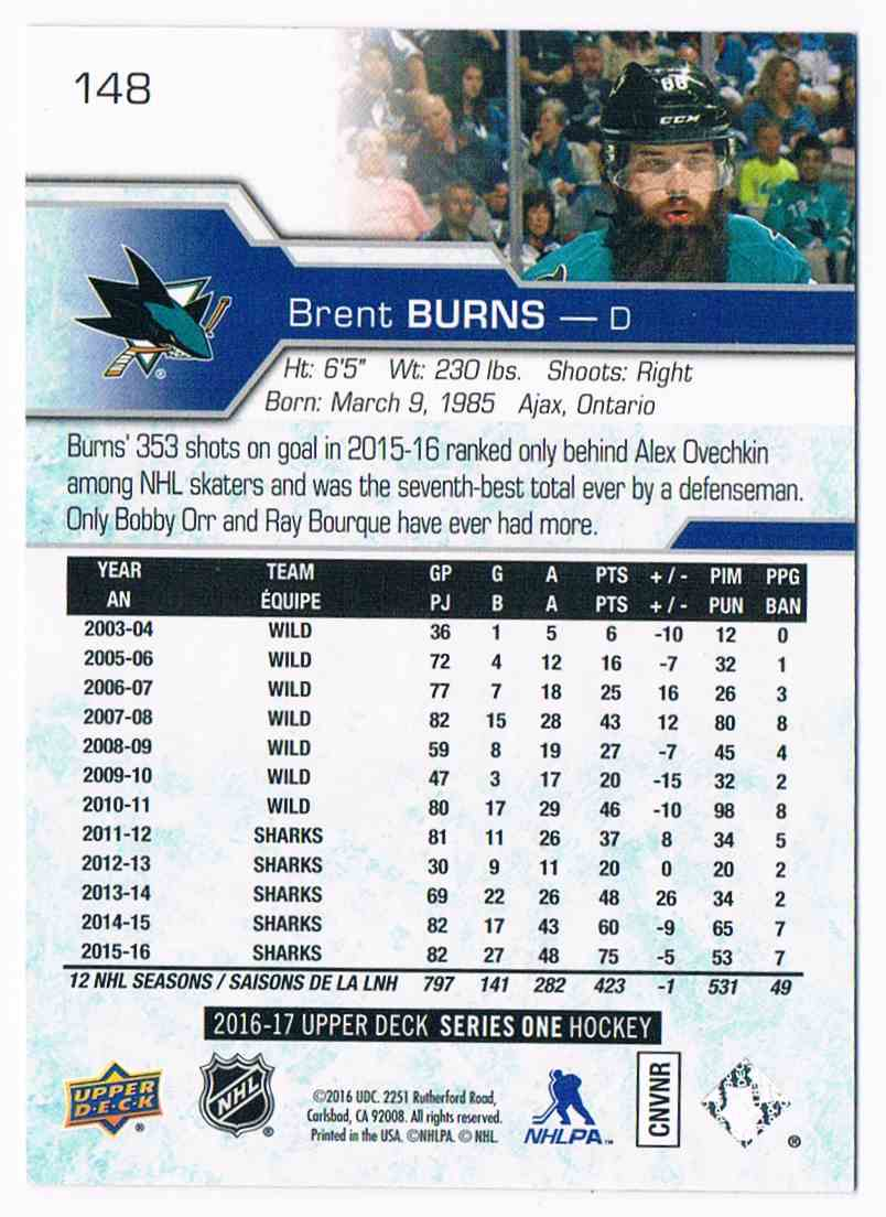 2016-17 Upper Deck UD Exclusives Brent Burns #149 card back image