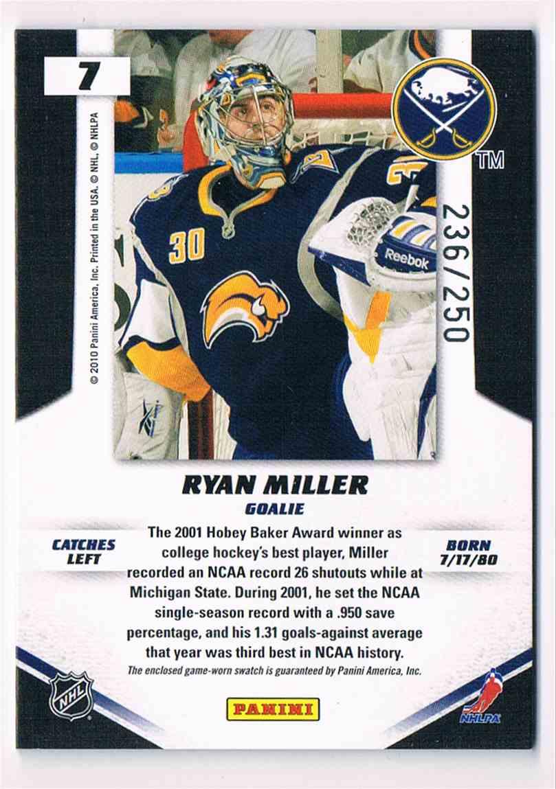 2010-11 Panini Certified Big Men On Campus Ryan Miller #7 card back image