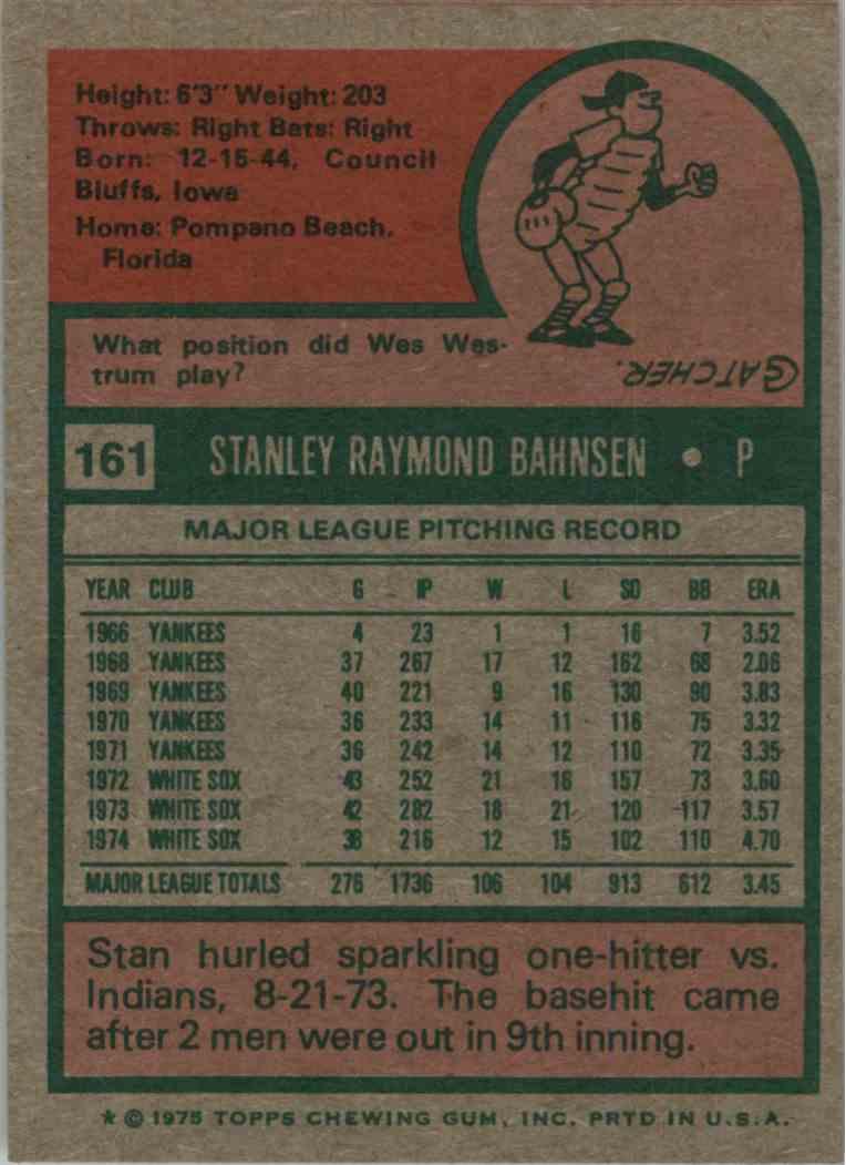 1975 Topps Stan Bahnsen #161 card back image