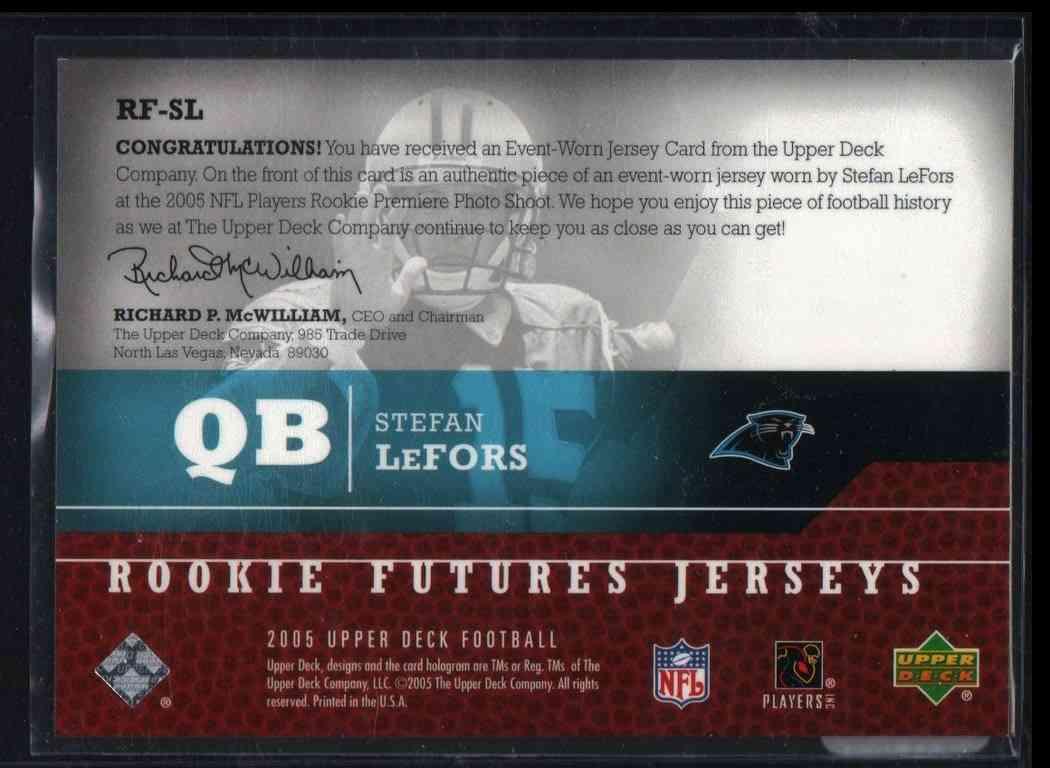2005 Upper Deck Rookie Futures Jerseys Stefan Lefors #RF-SL card back image