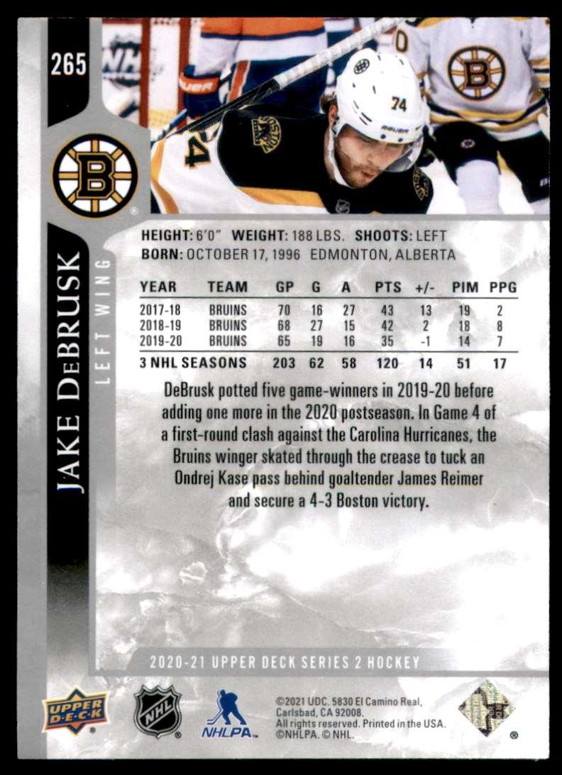 2020-21 Upper Deck Jake DeBrusk #265 card back image