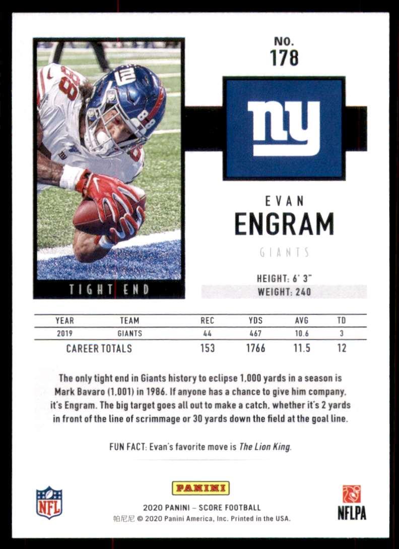 2020 Score Evan Engram #178 card back image