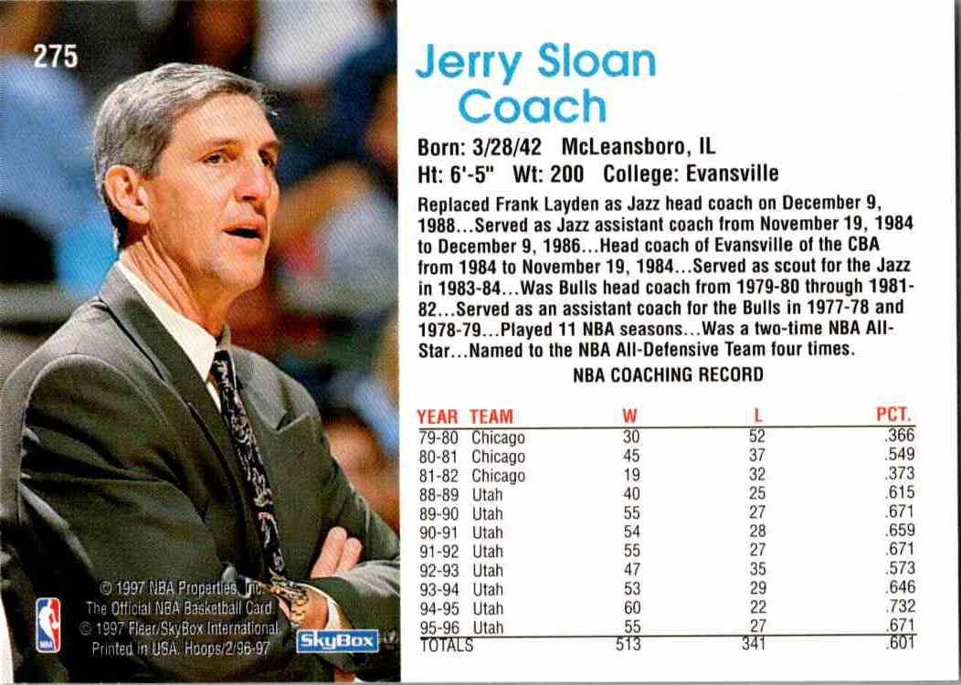 1997-98 NBA Hoops Jerry Sloan #275 card back image