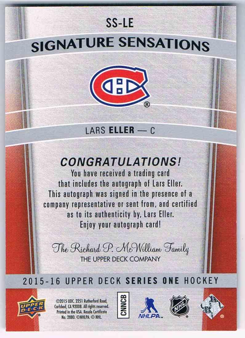2015-16 Upper Deck Signature Sensations Lars Eller #SS-LE card back image