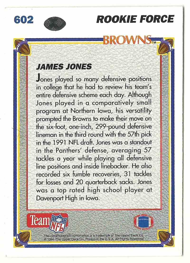1991 Upper Deck James Jones #602 card back image