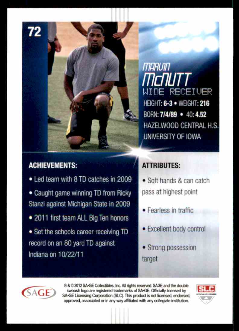 2012 Sage Hit Marvin McNutt #72 card back image