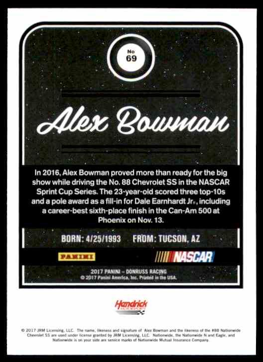 2017 Donruss Alex Bowman #69 card back image
