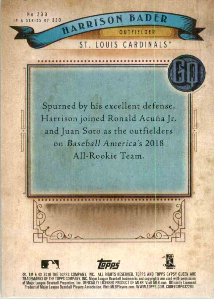 2019 Topps Gypsy Queen Harrison Bader #233 card back image