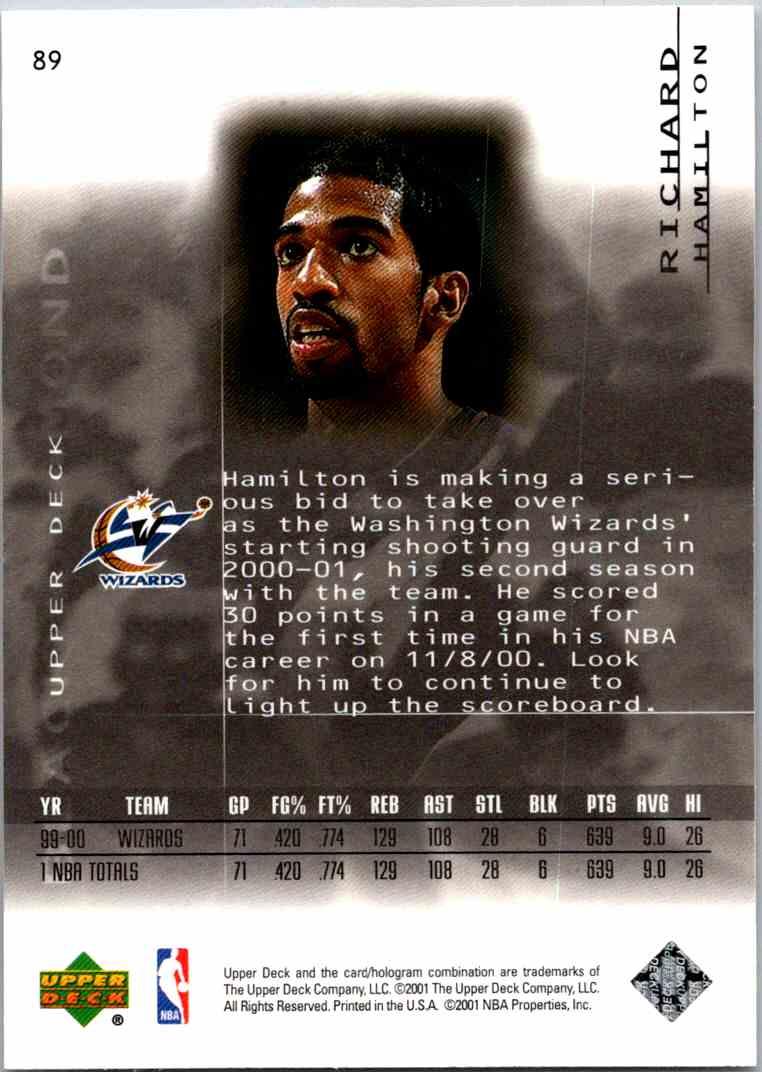 2000-01 Upper Deck Black Diamond Richard Hamilton #89 card back image