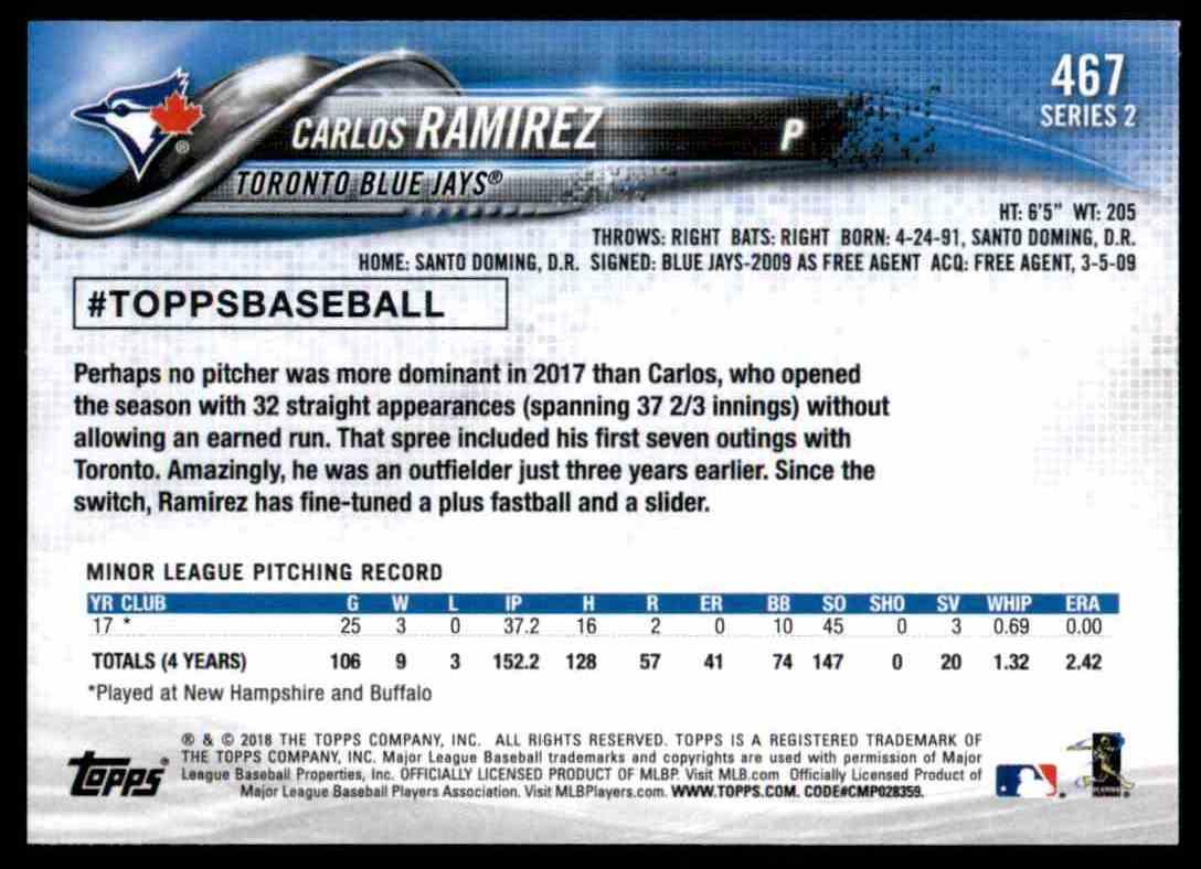 2018 Topps Carlos Ramirez RC #467 card back image
