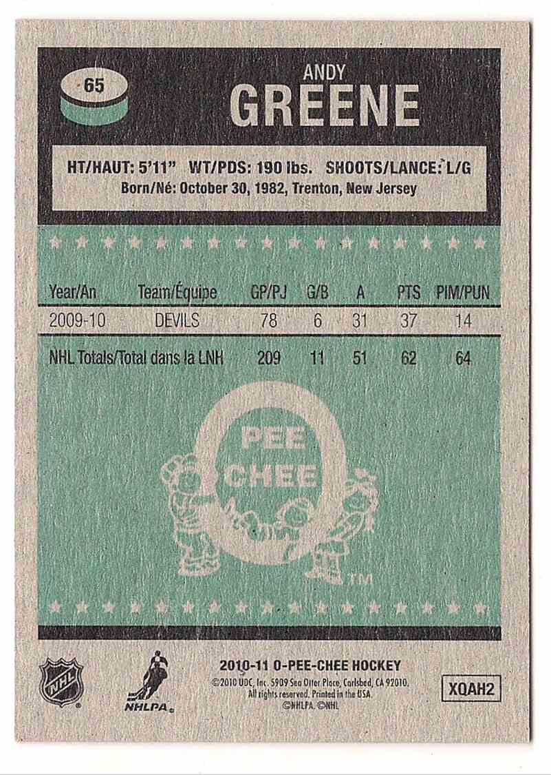 2010-11 O-Pee-Chee Retro Andy Greene #65 card back image