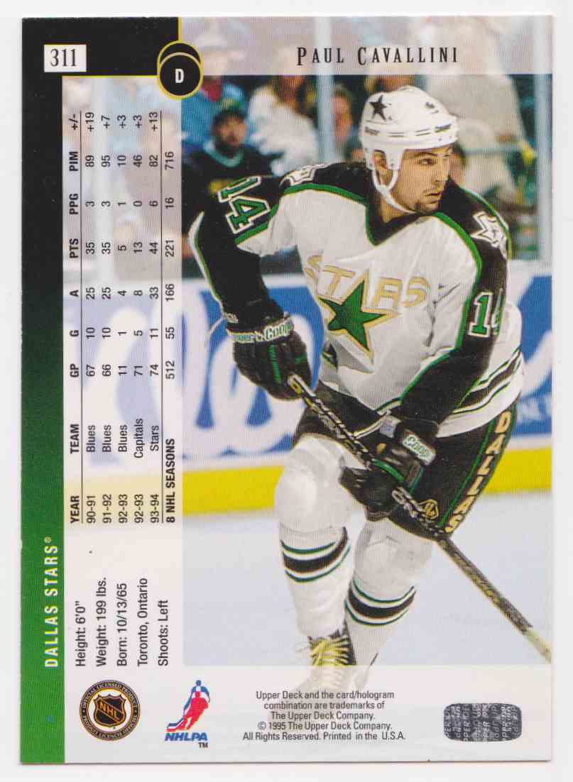 1994-95 Upper Deck Paul Cavallini #311 card back image