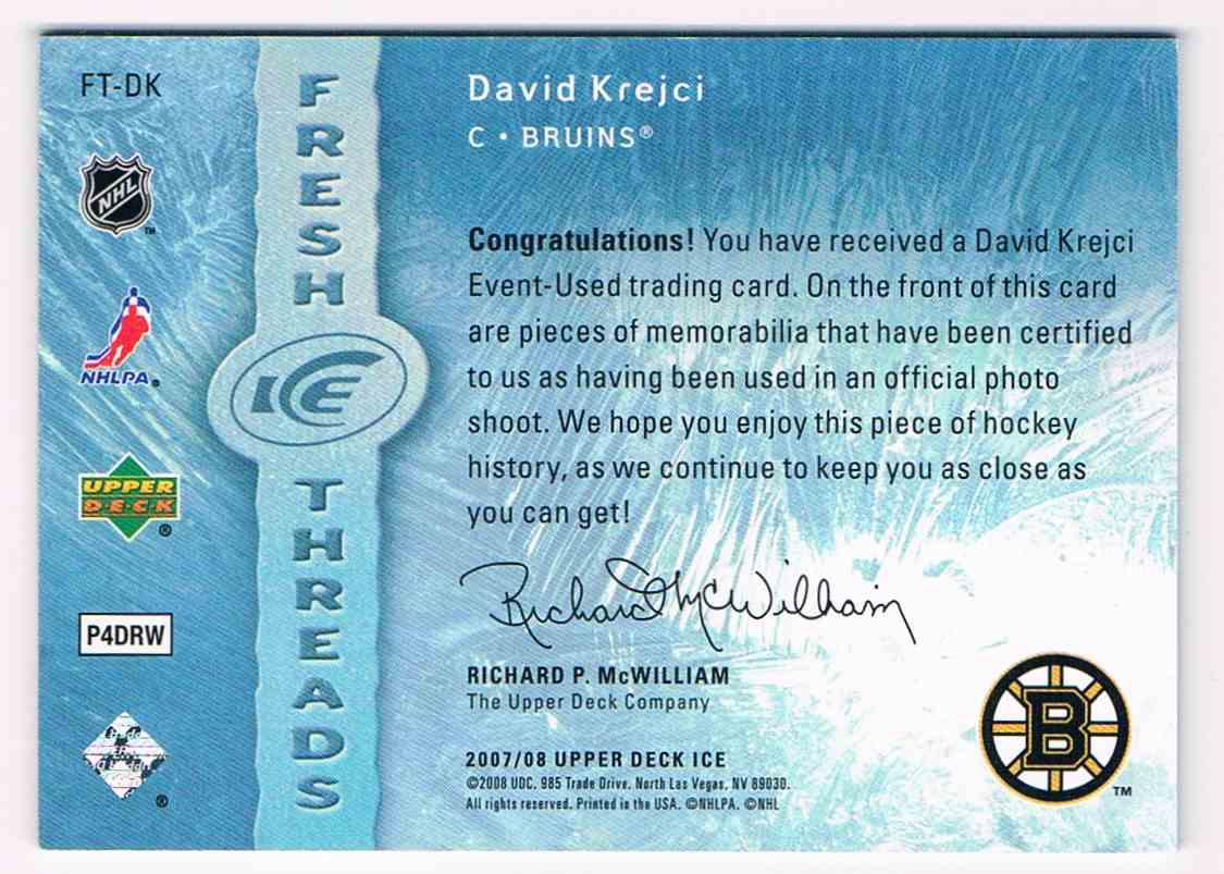 2007-08 Upper Deck Ice Fresh Threads David Krejci #FT-DK card back image