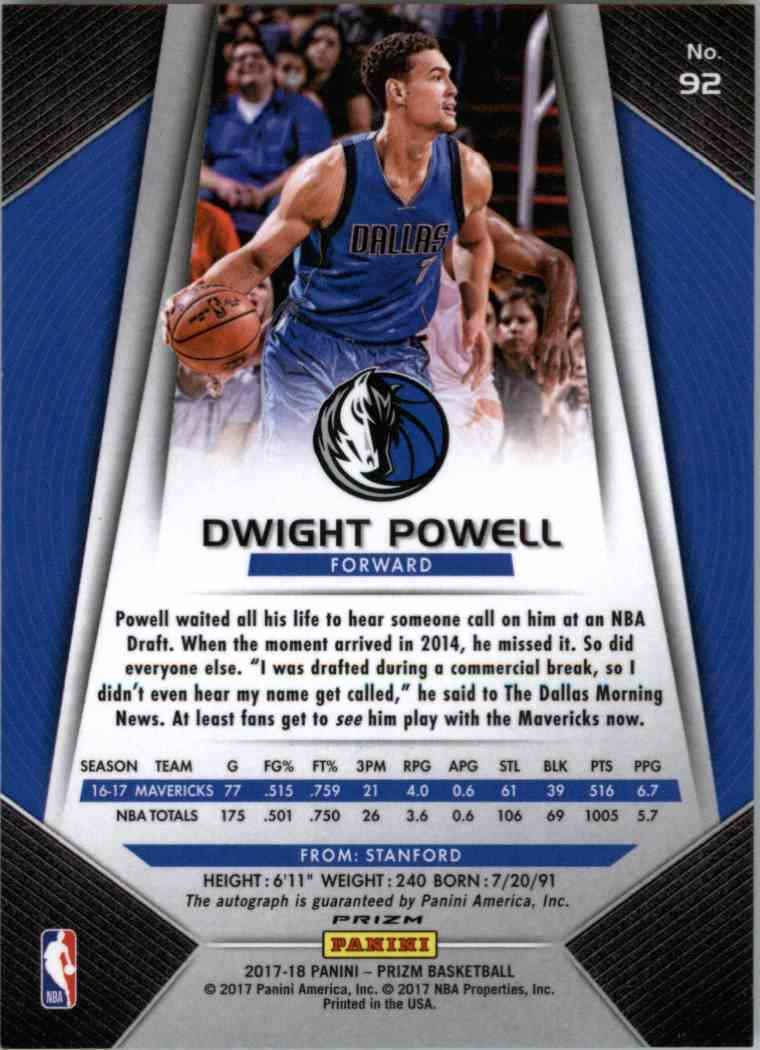 2018-19 Panini Prizm Dwight Powell #92 card back image