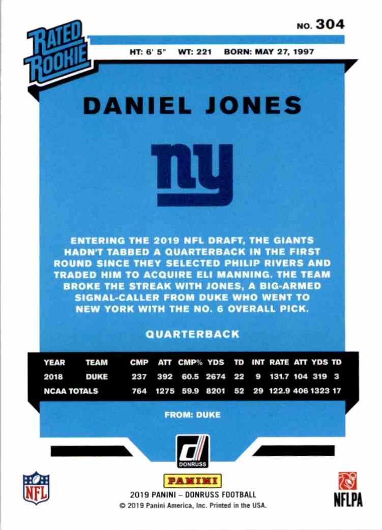 2019 Panini Donruss Rated Rookie Daniel Jones #304 card back image