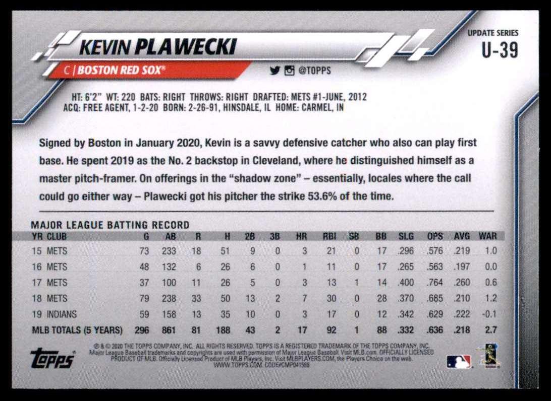 2020 Topps Update Kevin Plawecki #U-39 card back image