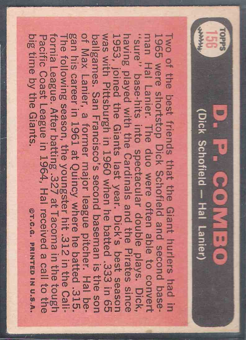 1966 Topps Dp Combo Dock Shofield Hal Lanier #156 card back image