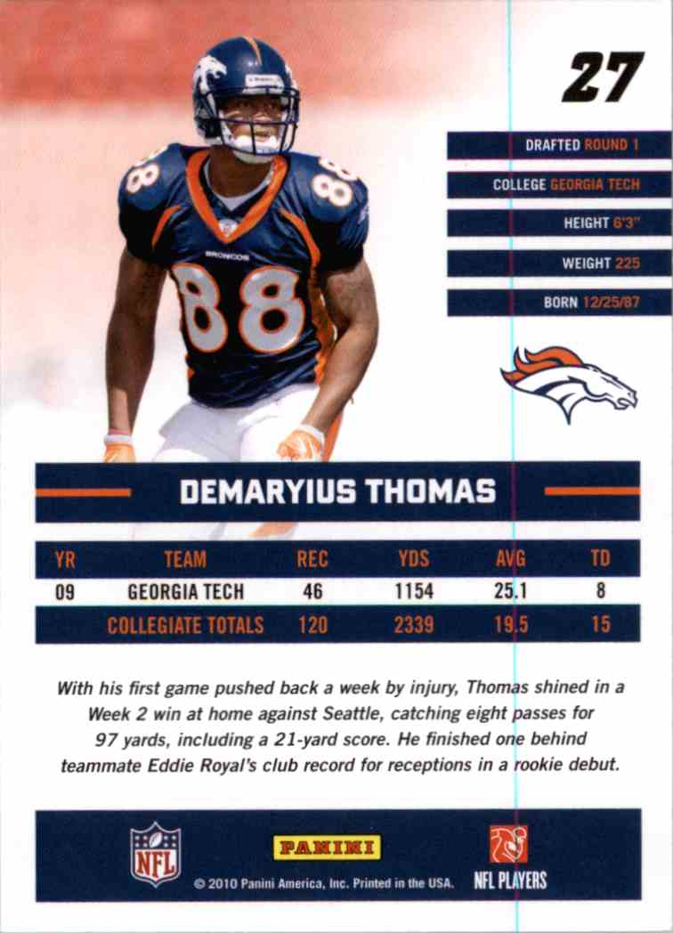 2010 Donruss Rated Rookie Demaryius Thomas #27 card back image