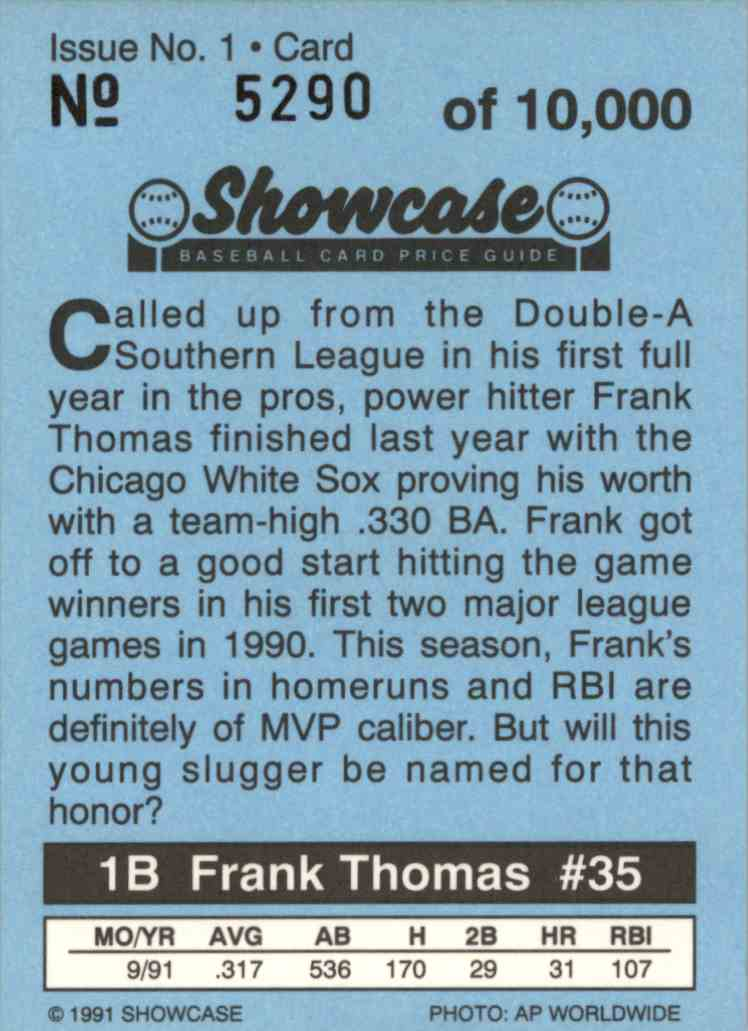 1991 Showcase Frank Thomas #1 card back image