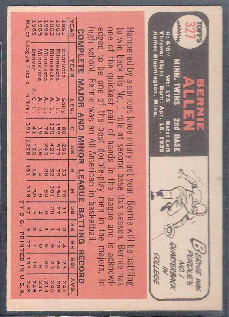 1966 Topps Bernie Allen #327 card back image