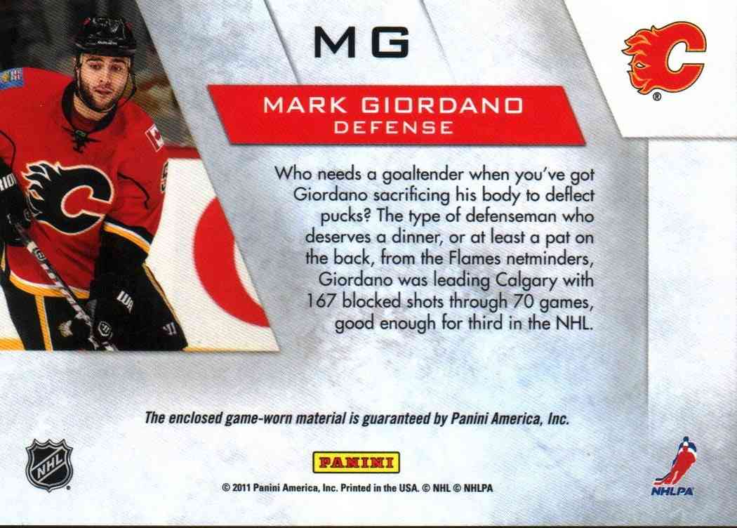 2011-12 Panini Zenith Mark Giordano #MG card back image