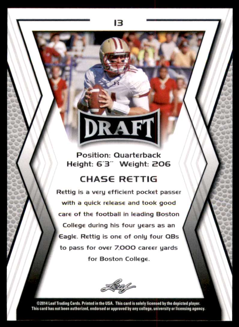 2014 Leaf Draft Chase Rettig #13 card back image