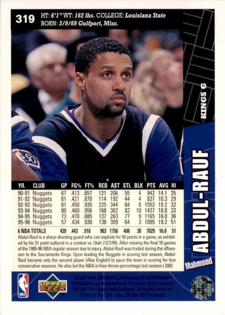 1996-97 Collector's Choice Mahmoud Abdul-Rauf #319 card back image
