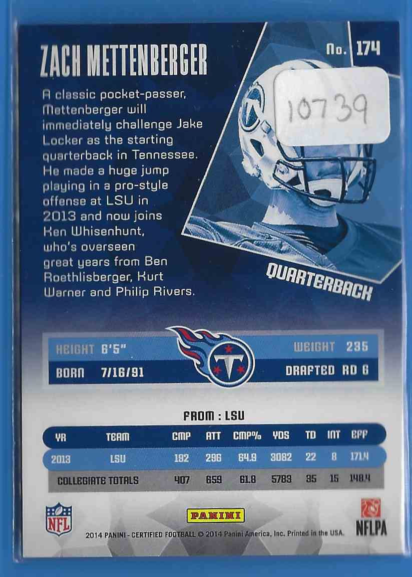 2014 Certified Zach Mettenberger RC #174 card back image