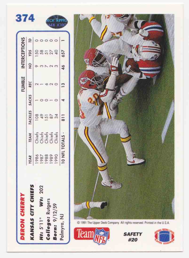1991 Upper Deck Deron Cherry #374 card back image