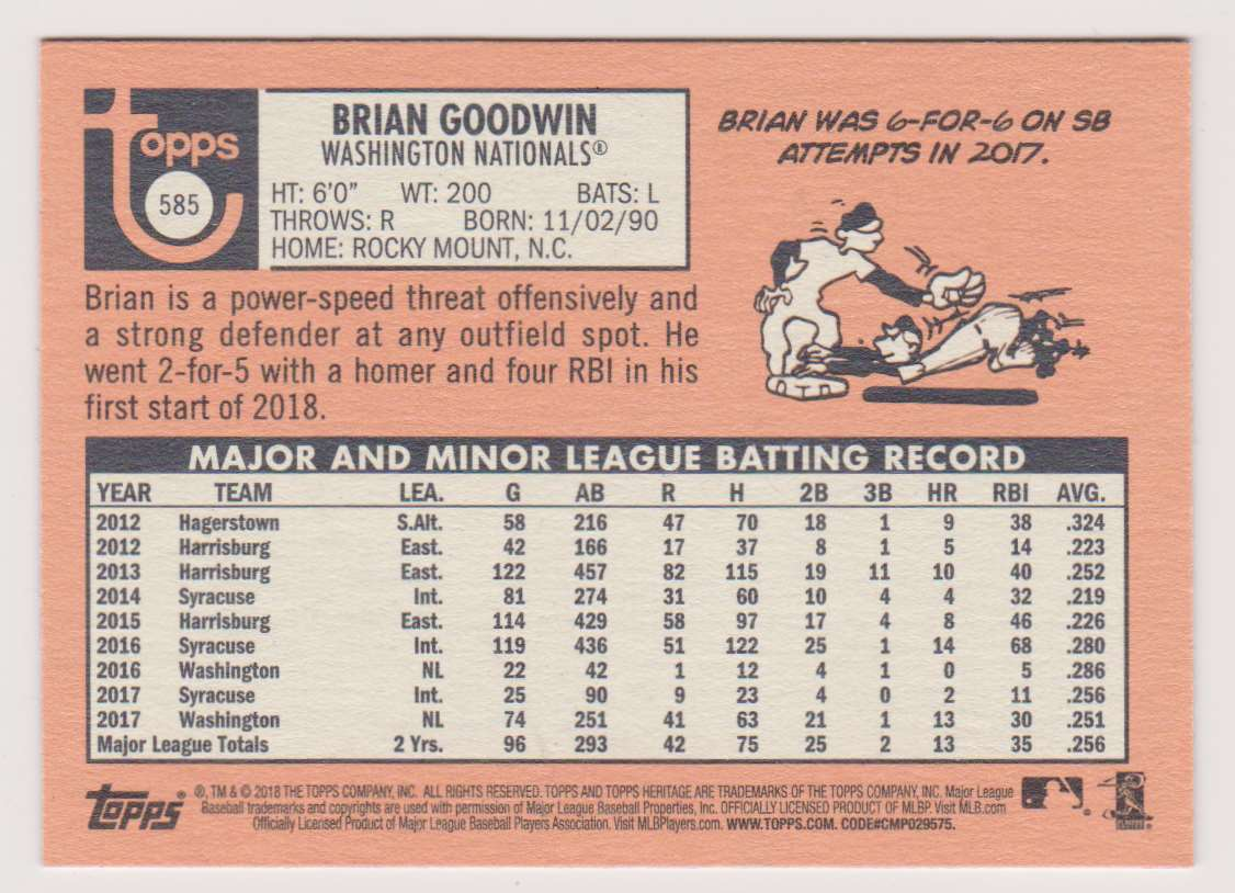 2018 Topps Heritage Brian Goodwin #585 card back image