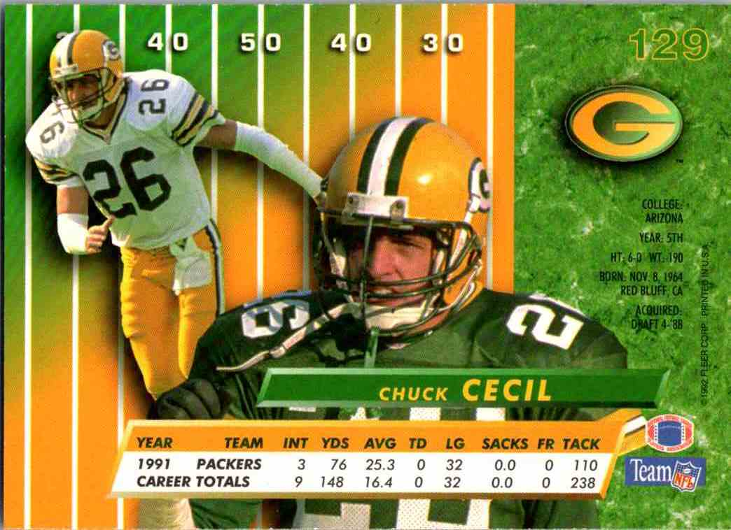 1992 Fleer Ultra Chuck Cecil #129 card back image