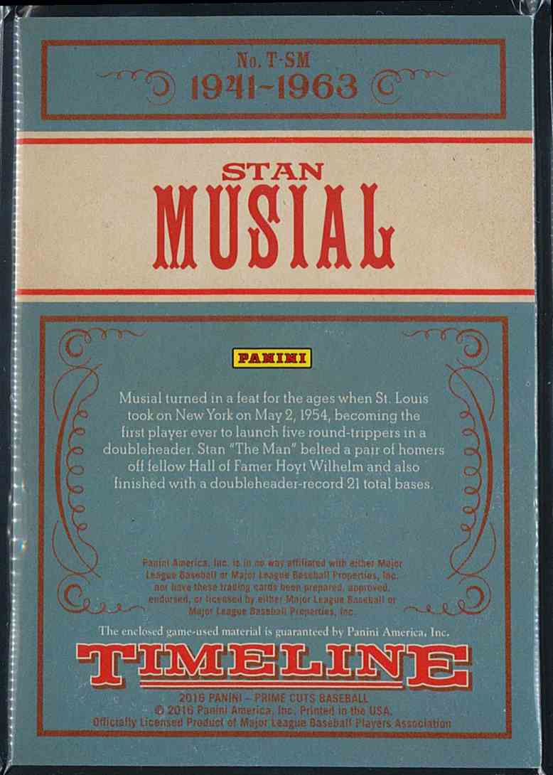 2016 Panini Prime Cuts Timeline Stan Musial #T-SM card back image