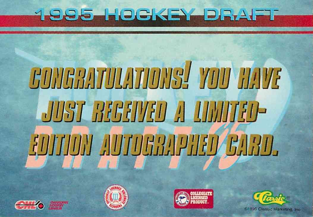 1995-96 Classic Hockey Draft Josh Green #NNO card back image