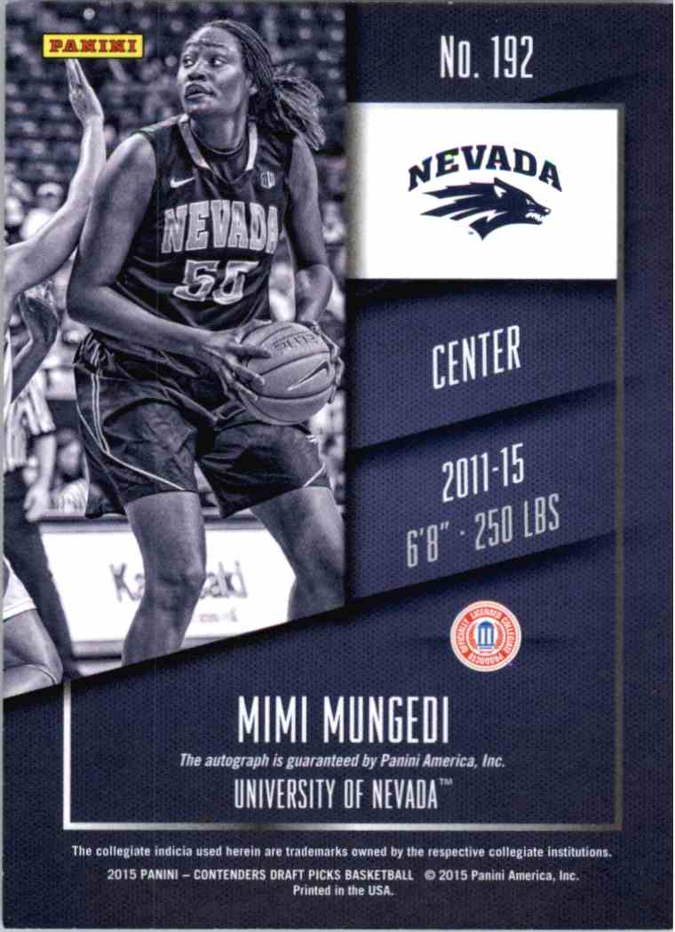2015-16 Panini Contenders MIMI Mungedi #192 card back image